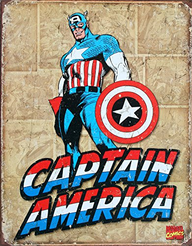 Captain America Panels Tin Sign 16 x 13in (Marvel Sign compare prices)