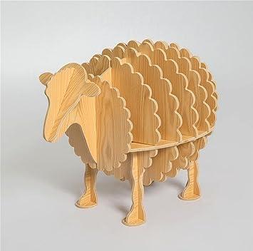 Scaffale creativo della pecora di GZD Mensole di modellazione della tabella della piccola tavola Decorazioni di legno Decorazioni domestiche 66 * 54cm , log manchurian ash