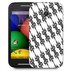 Snoogg Black Pattern Designer Protective Phone Back Case Cover For Motorola E / Moto E