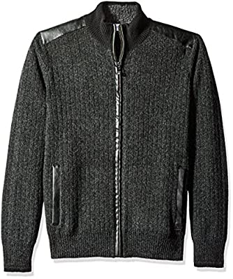 Calvin Klein Men's Full Zip Boucle Lined Sweater