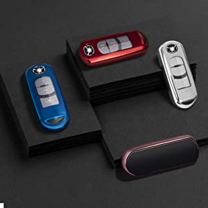 Blue Key Fob Case for Mazda 3 5 6 8 Miata MX-5 CX-3 CX-5 CX-7 CX-9 MX-5 4 3 2 Buttons Smart Remote Premium Soft TPU Mazda Key Cover LEADSTAR for Mazda Key Fob Cover