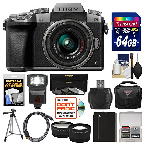 Panasonic Lumix DMC-G7 4K Wi-Fi Digital Camera & 14-42mm Lens (Silver) with 64GB Card + Case + Flash + Battery + Tripod + Tele/Wide Lens Kit (Panasonic Lumix Wireless compare prices)