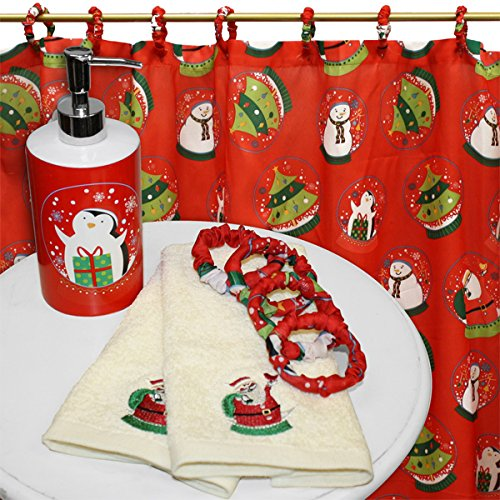 Santau0027s Globe Shower Curtain Set W/ Hooks, Lotion Pump And 2 Hand Towels