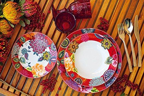 villa d este home tivoli maui service de table 18 pi ces en porcelaine rouge les petites. Black Bedroom Furniture Sets. Home Design Ideas