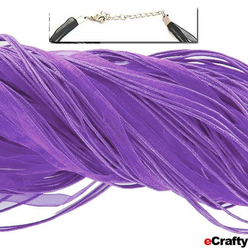"Neck Cord 3 Strand Organza W/Clasp 18"" Purple 10Pc"