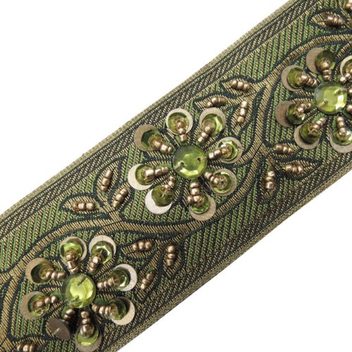1 Yd Hand Beaded Green Sequin Stone Ribbon Trim Sewing