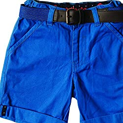 SuperYoung SOLID TURN UP WITH BELT BERMUDA SHORTS