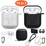 Airpods Case, Airpods Accessories Kits, 12 in 1 Protective Silicone Cover Skin Apple Airpods Anti-Lost Airpods Strap, Airpods Watch Band Holder, Airpods Ear Hook(Black and White) (Color: Black and White)