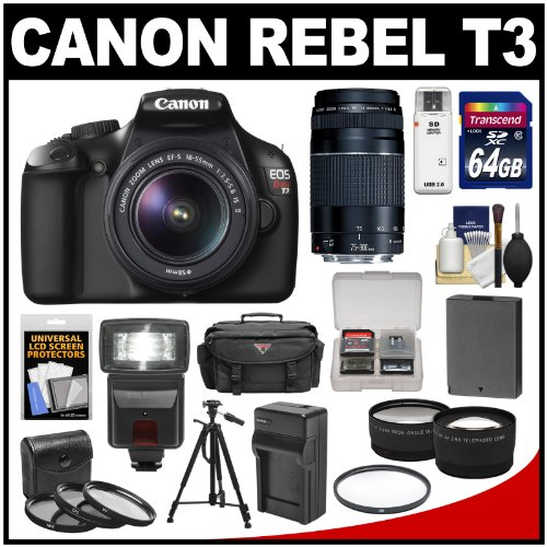 Canon EOS Rebel T3 Digital SLR Camera & 18-55mm IS Lens with 75-300mm Lens + 64GB Card + Battery + Charger + Case + Filters + Tripod + Flash + Tele/Wide Lens Kit best price