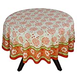 "70"" Round Tablecloth - Exquisite Orange, Red, And Green Floral Cotton - Handmade Indian Linen"