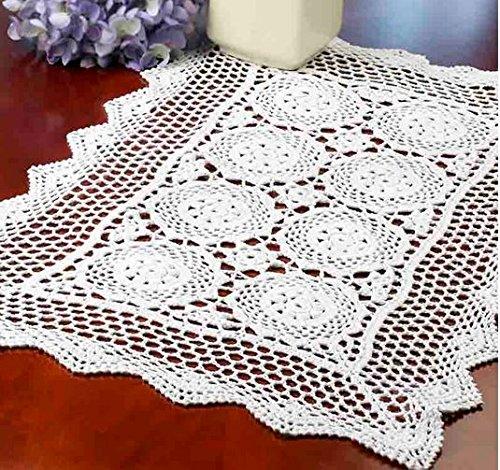 Factory Direct Craft® Elegant Handmade Rectangular Crocheted White Doily