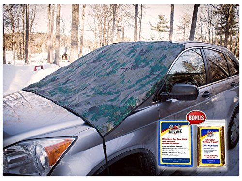 SnowOFF Camo Print Car Windshield Snow Cover Sun Shade Protector - New Shape w Straps, Wings, Suction Cups - BONUS Demist Cloth + Blanket - Ice Frost Guard Automotive Hood Covers - Fit Cars & CRV (Green Snow Brush compare prices)
