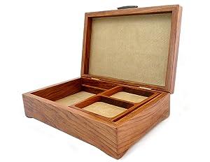 Burl Walnut and Sapele Handcrafted Hardwood Valet Box