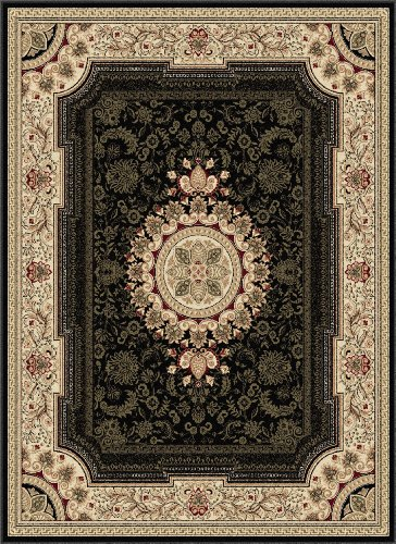 Sale Universal Rugs 104673 Black 9x12 Area Rug 8 Feet 9 Inch by 12