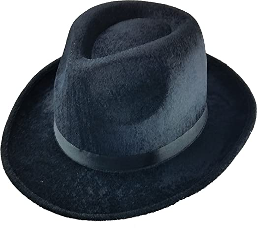 Black Fedora Gangster Hat Costume Accessory - Pack of 3