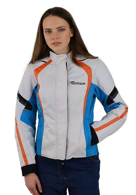 NERVE 23140150_03 Artemis Blouson Femme de Moto Blanc Bleu - 38