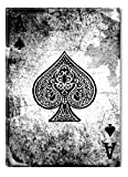 Startonight Wall Art Canvas Lucky Poker Ace of Spades, Black & White USA Design for Home Decor, Dual View Surprise Wall Art 23.62 X 35.43 Inch 100% Original Art Painting!