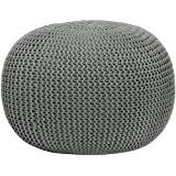 Urban Shop Round Knit Pouf - Gray - Home Decor - Living or Bedroom Furniture - Contemporary Style - Polyester - Can Be Used As Seating, a Footrest or a Fun Accent Piece
