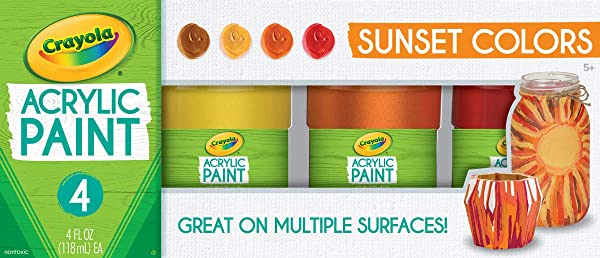 Crayola Paint Set in Sunset Colors, Multi-Surface Craft Paints, Painting Supplies, 4Count 20-2007