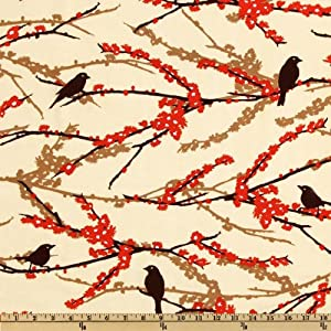 44'' Wide Aviary 2 Sparrows Bark Cream Fabric By The Yard