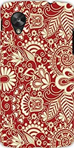 Snoogg Floral Red And White Case Cover For Google Nexus 5