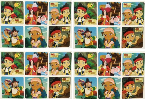 "JAKE AND THE NEVERLAND PIRATES STICKERS - Jake and the Neverland Pirates Birthday Party Favor Sticker Set Consisting of 45 Stickers Featuring 6 Different Designs Measuring 2.5"" Per Sticker"