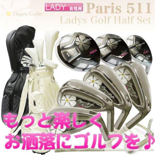 パリス ゴルフ PM511 ハーフセット 8本組 (1W,4W,7UT,7I,9I,PW,SW,PT) カーボンシャフト キャデイバッグ付 L/ブラック