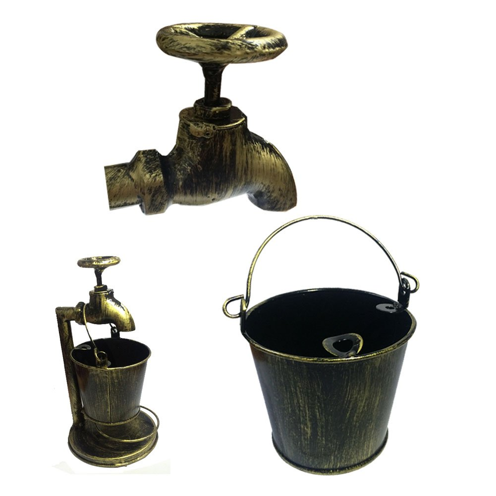 Retro Decoration Accents Cigarettes Cigars Bionic Design Faucet Bucket Ashtray Suit For Home Bar Office Or Use For Brush Pot Storage Containers ,Metal,Cinnamon 3