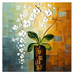 Wieco Art - Beauty of Life 100% Hand-painted Modern Canvas Wall Art Floral Oil Paintings on Canvas 32 by 32 inch