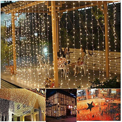 Curtain Lights 304led 9.8*9.8ft Warm White Christmas Curtain ...
