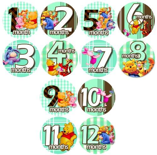 Monthly Baby Bodysuit Stickers, GREEN WINNIE POOH FRIENDS Baby Month Onesie Stickers Baby Shower Gift Photo Shower Stickers, photo prop by OnesieStickers