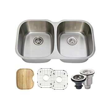 The MR Direct 504 16 Gauge Stainless Steel Kitchen ensemble (Bundle - 6 Items: Sink, Basket Strainer, Standard Strainer, 2 Sink Grids, and Cutting Board)...