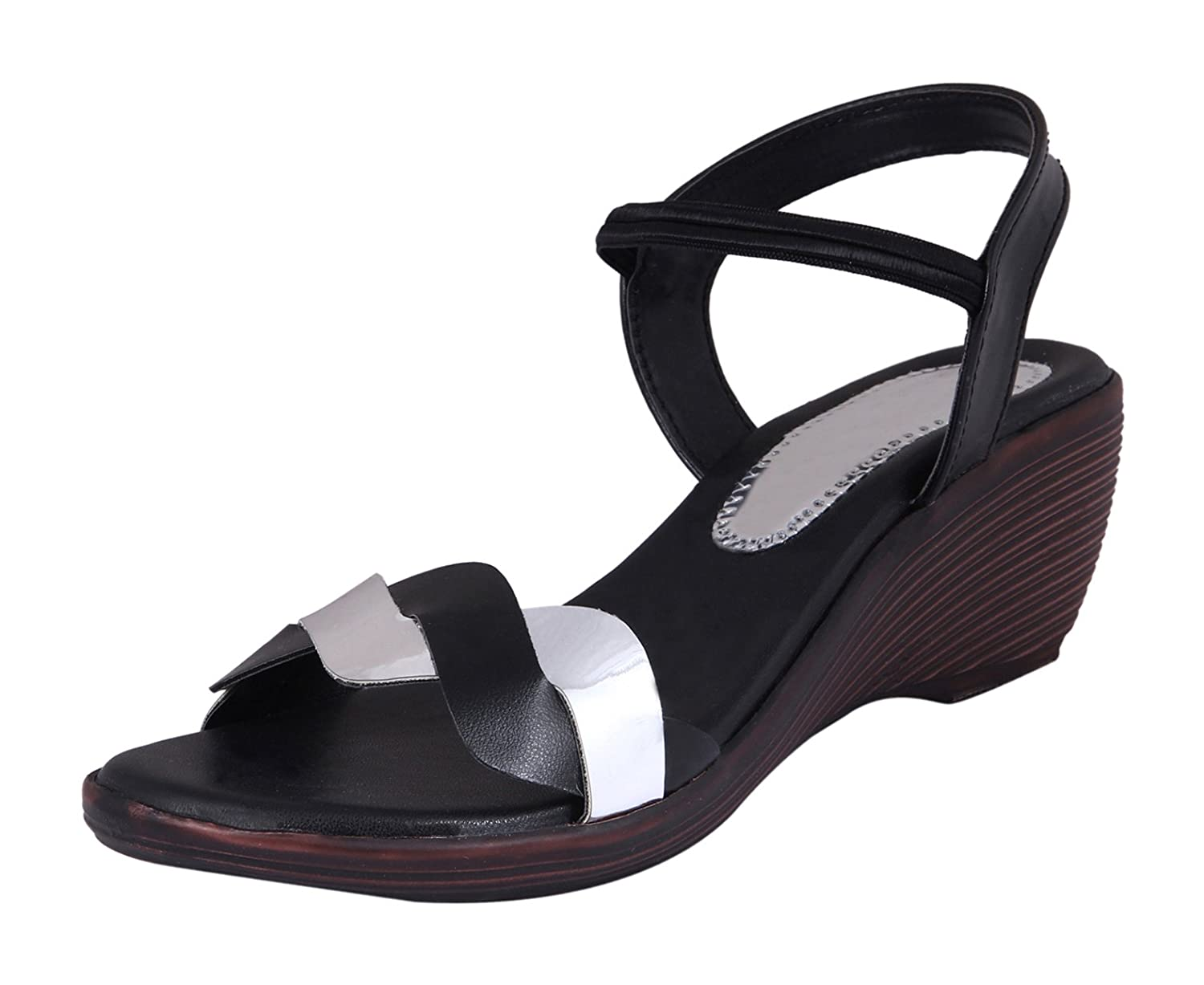 RIGHT STEPS Women's Black Leather Fashion Sandals - 5 UK