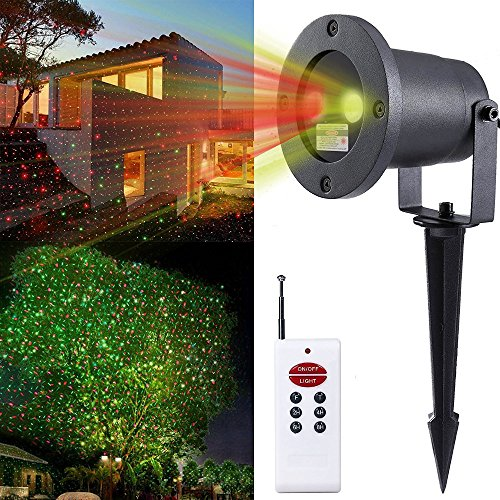 ToxTech Paesaggio Faretti, telecomando RF-Verde Rosso LED illuminazione dinamica del proiettore della stella impermeabile Illuminazione esterna per Giardino, Cortile, partito, KTV, Wedding