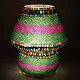 EarthenMetal Handcrafted Multicoloured Beads Decorated Dome Shaped Glass Table Lamp