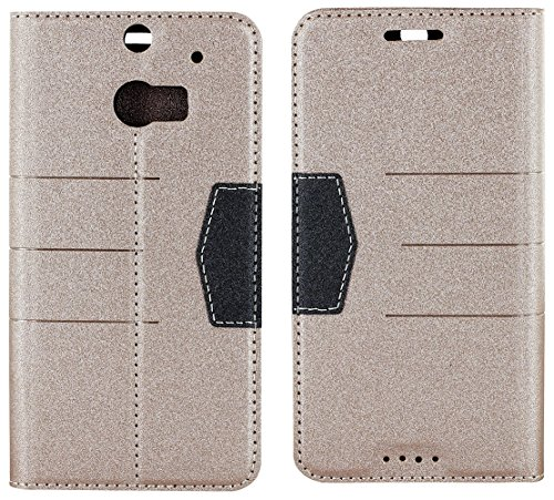 Mylife Sandy Beige And Black {Modern Magnetic Tab Design} Faux Leather (Card, Cash And Id Holder + Magnetic Closing) Slim Wallet For The All-New Htc One M8 Android Smartphone - Aka, 2Nd Gen Htc One (External Textured Synthetic Leather With Magnetic Clip +