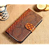KolorFish Crocodile Pattern Designer Leather Flip Case Cover For Samsung Galaxy S4 Brown