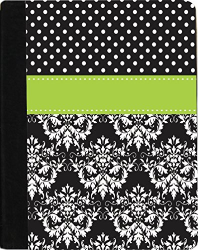 "Rikki Knighttm Rikki Knight Initial ""Z"" Blue Black Damask Dots Monogrammed Design Kindle Fire Hd 8.9"" (2012 Version) Notebook Case Black Faux Leather (Measures 9.5"" X 6.5"") front-636696"
