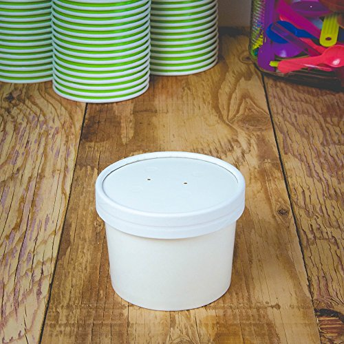 12 oz White Paper Heavy Duty Containers With Lids, Frozen Dessert Paper Food Storage Container and Lids, Paper To Go Containers for Ice Cream and Many Other Foods (To Go Soup Containers compare prices)