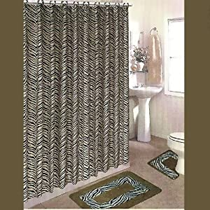 BLACK And BROWN ZEBRA 15 Piece Bathroom Set 2 Rugs Mats 1 Fabr