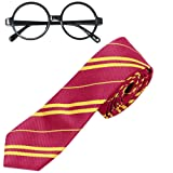Striped Tie with Novelty Glasses Frame for Cosplay Costumes Accessories for Halloween and Christmas (Tamaño: Medium)