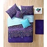 4-Piece-Purple-Kaleidoscope-Comforter-Twin-XL-Set-Indie-Hippie-Themed-Bedding-Native-Tribal-Damask-Pattern-Hippy-Style-Southwest-Design-Multi-Color-Teal-Burgundy-Bohemian-Soul-Spirit-Southwestern