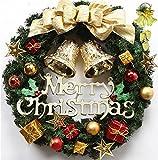 メリー クリスマス ! ゴールド リボン と ベル が かわいい 35 cm の 楽しく なっちゃう クリスマス リース & アレンジ も 出来ちゃう オーナメント andmore収納ポーチ セット プレゼント 緑 や 赤 の ステキ な 飾り 玄関 ドア に Gold AM-344