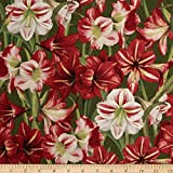 Making Spirits Bright Packed Amaryllis Green Fabric By The Yard