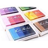 Ink Stamp Pads, Finger Print Craft Stamp Pads, Washable Ink Pads Rainbow Set of 6 DIY Multicolor Craft Stamp Pad Washable 24 Colors-Pink, Yellow, Purple, Coffee, Green, Blue (Color: L 24 color)