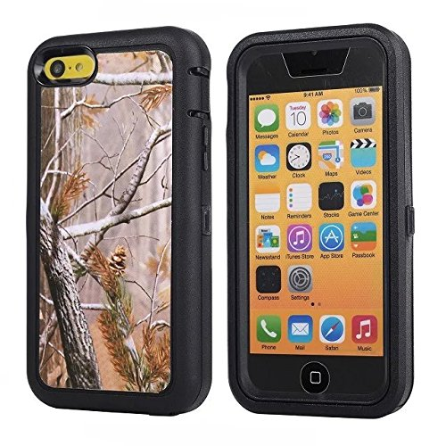 For Iphone 5c Case - FiversTM Heavy Duty Case 3 in 1 Three Advantages Waterproof Dustproof Shakeproof with Forest Camouflage Desig Cell Phone Cases for Iphone 5c Tree- Black