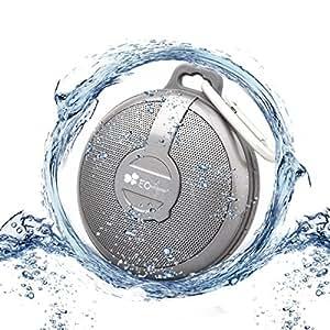 EC Technology® Freiluftsport Ultra Mini Tragbarer Lautsprecher Wasserdichter und Stoßfester und Staubdichter Bluetooth Lautsprecher,mit Mikrofon Ünterstützt das Abspielen von Musik der TF Karte der mit 12 Stunden Wiedergabezeit Lautsprecher für Smartphones, Tablets PC, Laptops-Silber
