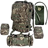 Large Tactical Backpack - 2.5L Hydration Water Bladder Included - Military & Bug Out Bag By Monkey Paks - MOLLE Compatible U.S. Army Style Rucksack with 3 MOLLE Bags Included. *High Quality Pack*