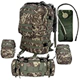 Large Tactical Backpack - with 2.5L Hydration Water Bladder Included- Military Backpack & Bug Out Bag By Monkey Paks - MOLLE Compatible U.S. Army Style Backpack with 3 Additional Molle Bags Included. *High Quality Pack* Black, Tan, ACU Digital Camo