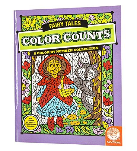 "MindWare - Color Counts Fairy Tales - 12 Unique Puzzles with Up to 10 Color Directions - Teaches Creativity and Fosters Imagination - Includes 10"" x 15"" Fold-Out Designs - 1"